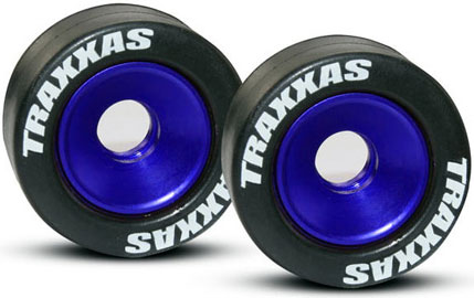 Mounted Wheelie Bar Tires/Wheels Blue (2)