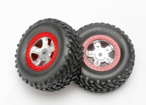 Tires And Wheels - Assembled - Glued (SCT Satin Chrome Wheels - SCT Off-Road Racing Tires - Foam Inserts) (1 Each - Right & Left)Tires And Wheels - Assembled - Glued (Sct Satin Chrome Wheels - Red Beadlock Style - Sct Off-Road Racing Tires - Foam Inserts) (1 Each - Right & Left)