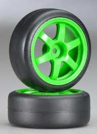 Rally Tires Mounted on Volk TE37 Green Wheels (2) (1:16)