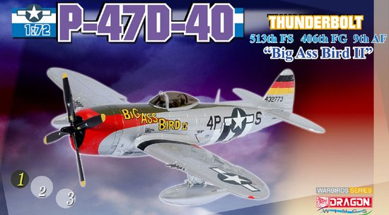 "P-47D-40-RA Thunderbolt ""Big Ass Bird II"" Howard M. Park, 9th AF/406th FG/513th FS, 1944-45 (1:72)"