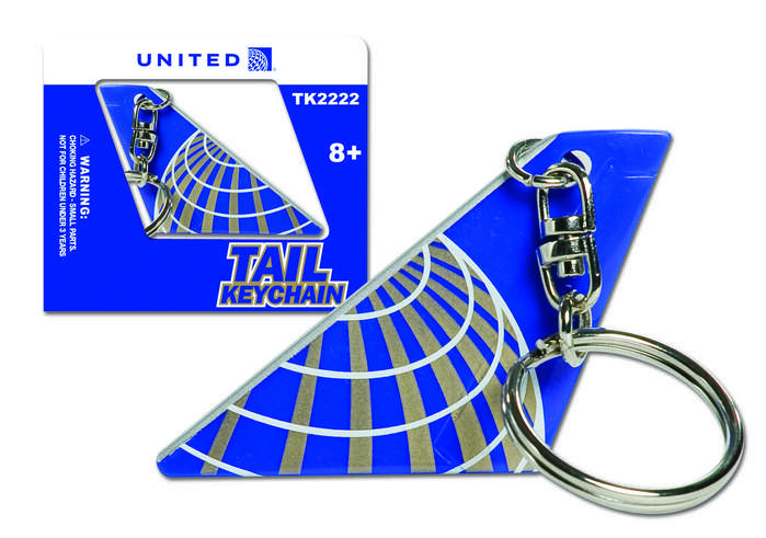 United Airlines Tail Keychain (post Continental merger livery)