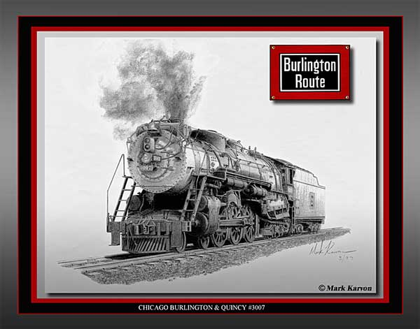 "CB&Q Hudson ""Chicago Burlington & Quincy #3007"" (Pencil Print 11"" x 14"")"