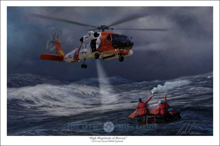 "HH-60 Jayhawk US Coast Guard ""High Magnitude of Bravery"" (Fine Art Print)"