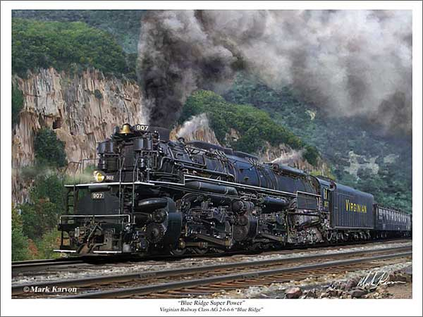 "Virginian Rwy 2-6-6-6 ""Blue Ridge Super Power"" (Fine Art Print)"