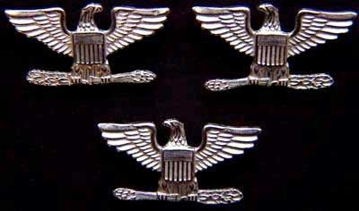 War Eagles Sterling Bright set of 3 Colonel, war eagles, sterling, sterling silver, WWII, silver, war eagle, sterling war eagle, silver war eagle