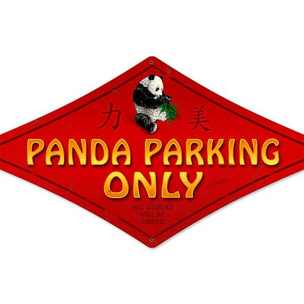 Panda Parking Metal Sign