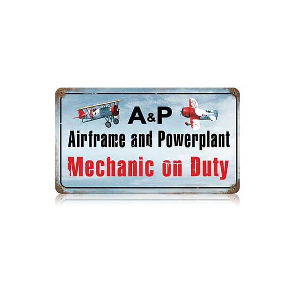 Airframe Powerplant Color Metal Sign