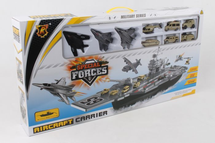 "30"" Aircraft Carrier Play Set with 3 planes, 1 helicopter, and 5 military vehicles, Motormax Diecast, Item Number BP96243"