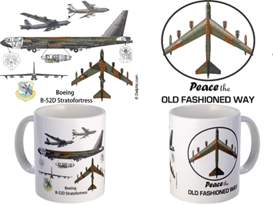 "B-52 - ""Peace the Old Fashion Way"" Coffee Mug, Pilotwear Item Number MUG420M"