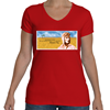 Beryl Markham: Horizon V-Neck T-Shirt, Women Fly Item Number TS-WFBMHRZ