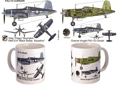 F4U Corsair Pappy Boyington Black Sheep Coffee Mug , Pilotwear Item Number MUG-F4U