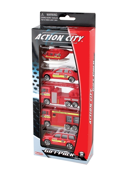 Fire Dept. 5 Piece Vehicle Gift Pack, Realtoy Diecast Toys Item Number RT38872F