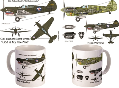"P-40 Warhawk ""God is My Copilot"" Col. Robert Scott Coffee Mug, Pilotwear Item Number MUG408M"