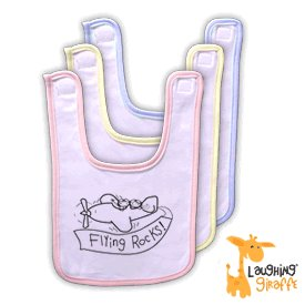 Powder Puff Pilot Flying Rocks Baby Bib, Powder Puff Pilots Item Number BBFR