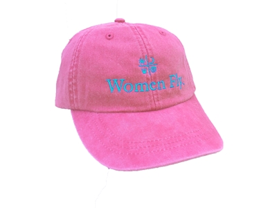 Women Fly Hat: Raspberry Hat/Teal Embroidery