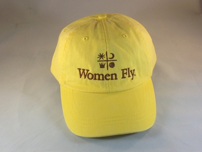 Women Fly Hat: Yellow Hat/Burgundy Embroidery