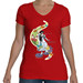 "Women Fly ""Princess"" V-Neck T-Shirt  - TS-WFPRINCESS-RED-SMA"