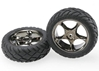 Tires And Wheels - Assembled (Tracer 2.2 Inch Black Chrome Wheels - Anaconda 2.2 Inch Tires With Foam Inserts) (2) (Bandit Front), Traxxas Radio Control Item Number TRX2479A