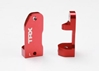 Caster blocks - 30-degree - red-anodized 6061-T6 aluminum (left & right), Traxxas Radio Control Item Number TRX3632X