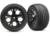 Tires And Wheels - Assembled - Glued (2.8 Inch)(All-Star Black Chrome Wheels - Ribbed Tires - Foam Inserts) (Electric Front) (2), Traxxas Radio Control Item Number TRX3771A