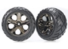 Tires And Wheels - Assembled - Glued (All-Star Black Chrome Wheels - Anaconda Tires - Foam Inserts) (Nitro Rear/ Electric Front) (1 Left - 1 Right), Traxxas Radio Control Item Number TRX3776A