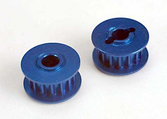 Pulleys - 15-groove (front/ rear) (blue-anodized - light-weight aluminum) (2)/flanges (2), Traxxas Radio Control Item Number TRX4395X