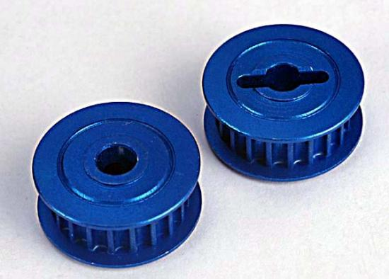 Pulleys - 20-Groove (Middle)(Blue-Anodized - Light-Weight Aluminum) (2)/ Flanges (2), Traxxas Radio Control Item Number TRX4895X
