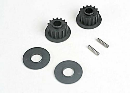 Pulleys - 15-Groove (Front/ Rear) (2)/Flanges (2)/ Axle Pins (2), Traxxas Radio Control Item Number TRX4896
