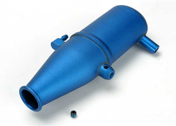 Aluminum Tuned Pipe Blue Anodized Revo, Traxxas Radio Control Item Number TRX5342