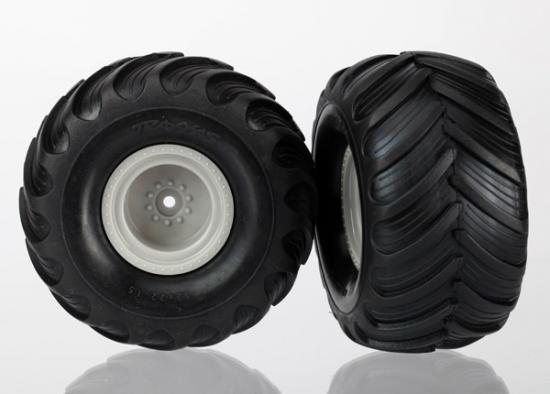 Tires & Wheels - Assembled (Monster Jam Replica Grey Wheels), Traxxas Radio Control Item Number TRX7265