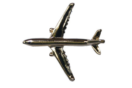 Airbus A330 3D (Gold) Lapel Pin / Tie Tack, ACI Aviation Jewelry and Bag Tags Item Number PIN330