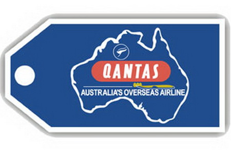Qantas Australia Retro Bag Tag, ACI Aviation Jewelry and Bag Tags Item Number TAG223