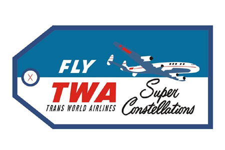 TWA Constellation Bag Tag, ACI Aviation Jewelry and Bag Tags Item Number TAG232