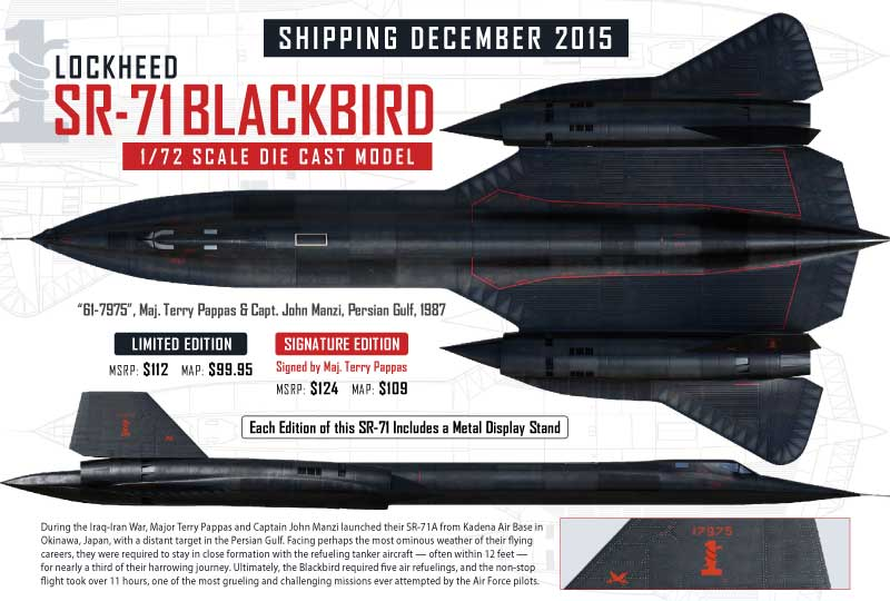 "Lockheed SR-71A Blackbird ""61-7975,"" Maj Terry Pappas & Capt. John Manzi, Persian Gulf, 1987 (1:72) - Signature Edition, Air Force 1 Diecast Item Number AF1-0088A"