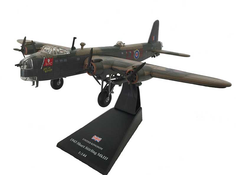 "Short Stirling B Mk.III, ""Jolly Roger,"" No. 199 Squadron, 100 Group, Royal Air Force, 1943 (1:144) - Preorder item, order now for future delivery, Amercom Diecast Item Number ACLB36"