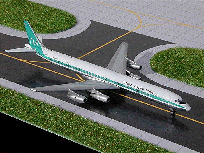 "Trans International DC-8-61 ""Old Colors"" (1:400), GeminiJets 400 Diecast Airliners, Item Number GJTVA102"