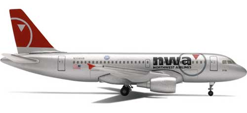"Northwest A319 ""New Colors"" (1:500), Herpa 1:500 Scale Diecast Airliners Item Number HE509084"