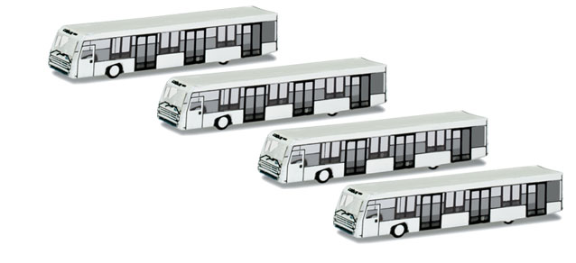 Airport Accessories 4 Buses (1:500), Herpa 1:500 Scale Diecast Airliners Item Number HE521000