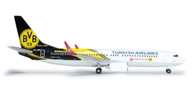 Turkish 737-800 (1:500) Bvb Dortmund, Herpa 1:500 Scale Diecast Airliners Item Number HE526357