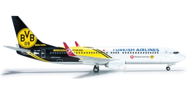 Turkish 737-800 (1:200) Bvb Dortmund, Herpa 1:200 Scale Diecast Airliners Item Number HE556477
