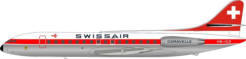 Swissair Sud SE-210 Caravelle III HB-ICS POLISHED (1:200) - Preorder item, Order now for future delivery