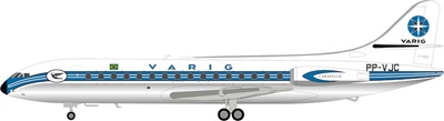 Varig Sud SE-210 Caravelle III PP-VJC polished (1:200), InFlight 200 Scale Diecast Airliners, Item Number IF210RG1118P