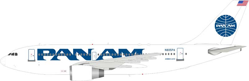 Pan Am Airbus A310-222 N805PA (1:200) - New Mould, InFlight 200 Scale Diecast Airliners, Item Number IF3100518