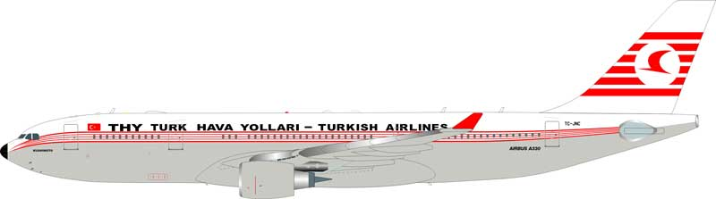 "Turkish Airlines A330-200 TC-JNC  ""Kushimoto"" (1:200), InFlight 200 Scale Diecast Airliners Item Number IF3300116"