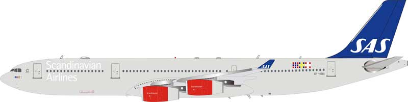 SAS Airbus A340-300 OY-KBA (1:200) - Preorder item, order now for future delivery, InFlight 200 Scale Diecast Airliners Item Number IF343SK0618