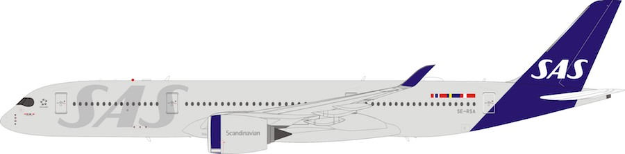 Scandinavian Airlines - SAS Airbus A350-900 SE-RSA With Stand (1:200) by InFlight 200 Scale Diecast Airliners