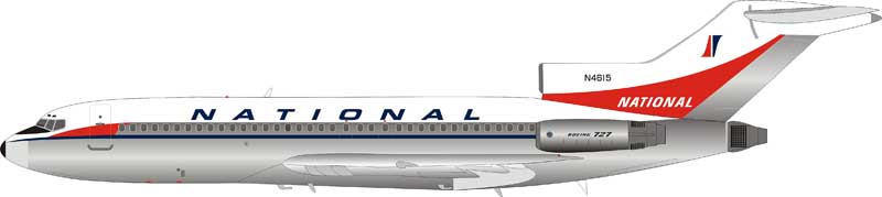 National Airlines Boeing 727-100 N4615 Polished (1:200) by InFlight 200 Scale Diecast Airliners Item Number: IF721NA0119P