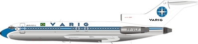 Varig Boeing 727-100 PP-VLF Polished (1:200) by InFlight 200 Scale Diecast Airliners Item Number IF721VR0319P