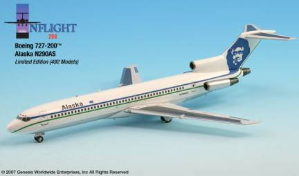 Alaska 727-200 (1:200) Old Colors - N290AS, InFlight 200 Scale Diecast Airliners Item Number IF722021