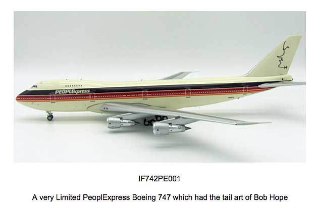 "PeoplExpress ""Bob Hope"" Boeing 747-200 N605PE (1:200), InFlight 200 Scale Diecast Airliners Item Number IF742PE001"